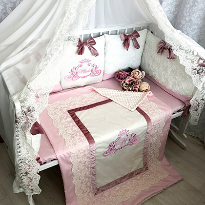 Creamy rose | Crib Bedding Set