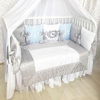Blue Monograms | Crib Bedding Set