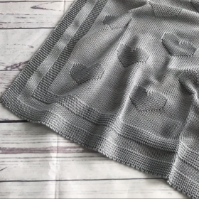 Hearts Gray | Luxe Baby Blanket