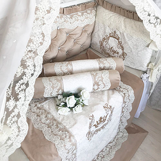 Beige castle | Crib Bedding Set