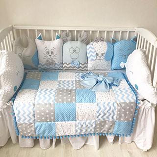 Gray-Blue Forestry | Crib Bedding Set