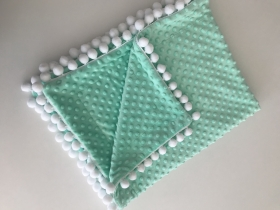 Plush Baby Blanket | green & pink