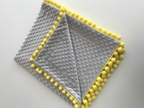 Plush Baby Blanket | grey & yellow