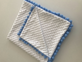 Plush Baby Blanket | white & blue