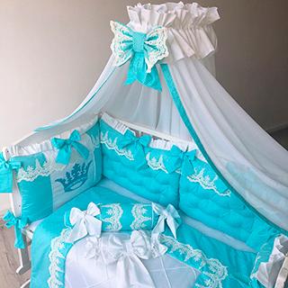 Turquoise waves | Crib Bedding Set