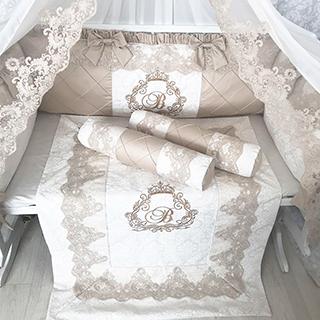 Beige & Dairy Monograms | Crib Bedding Set