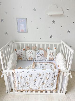 Beige Starfall | Crib Bedding Set