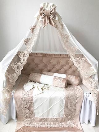 Beige velour | Crib Bedding Set
